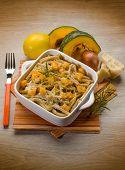 pasta casarecce with pumpkin, lemon peel and parmesan cheese