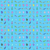 Seamless pattern of simple shapes of different colors.