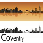 Coventry Skyline In Orange Background