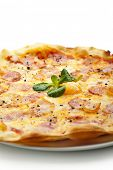 Pizza Carbonara with Bacon and Yolk of Chicken Egg
