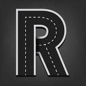 R letter. Road font