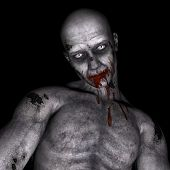 picture of zombie  - One zombie portrait in black background for Halloween  - JPG