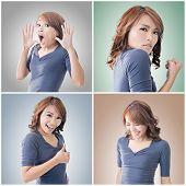 Collection of Asian woman face, closeup portrait.