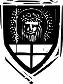 stock photo of arthurian  - Woodcut style Heraldic Shield with Jesus Christ - JPG