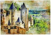 medieval castle Carcassonne, France, artisric picture