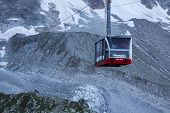 Chamonix, France - August 2: Cable Car From Chamonix To The Summit Of The Aiguille Du Midi On August