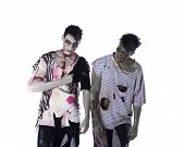 Two Male Zombies Standing Isolated On White Background