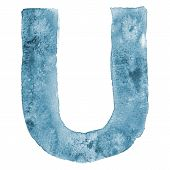 Watercolor vector capital letter U
