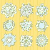 Set Of Decorative Hand Drawn Vector Floral Elements
