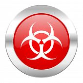biohazard red circle chrome web icon isolated