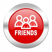 friends red circle chrome web icon isolated