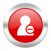remove contact red circle chrome web icon isolated