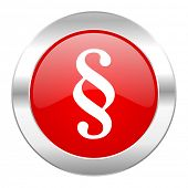 paragraph red circle chrome web icon isolated