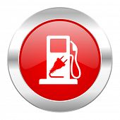 fuel red circle chrome web icon isolated