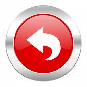 back red circle chrome web icon isolated