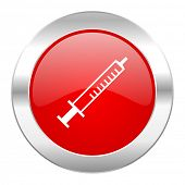 medicine red circle chrome web icon isolated