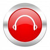 headphones red circle chrome web icon isolated