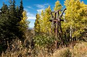 Rusty, abandoned ski lift tower