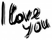 I Love You Hand Lettering. Handmade Calligraphy. Vector