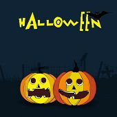 Dangerous night scene with scary pumpkin face, silhouette of bat, crow and stylish Halloween text in yellow colour.
