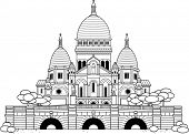 Outlined Sacre Coeur church. Black and white. Essential and graphic style.