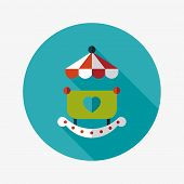 Baby Cradle Bed Flat Icon With Long Shadow