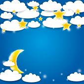 Blue Background With White Clouds, Stars And Moon Rising. Vector