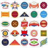 Big set of flat colored vintage labels