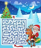 Maze 3 with Santa Claus and deer - eps10 vector illustration.