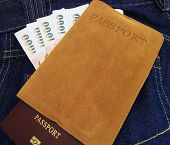 Thailand Passport,money  In Denim Jeans Pocket