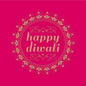 'Happy Diwali' message in english with round border made with traditional lamp motif.