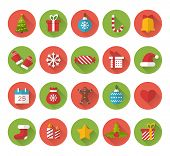 stock photo of christmas bells  - Christmas flat icons with long shadow effect - JPG