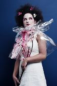 Beautiful lady with flower dress