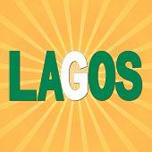 Lagos flag text with sunburst illustration