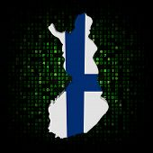 Finland map flag on hex code illustration