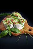 stock photo of pita  - Roll pita with salad and salted salmon - JPG