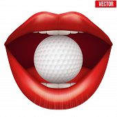 Womans open mouth with golf ball in lips.