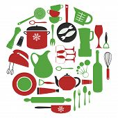 Stylish round kitchen composition