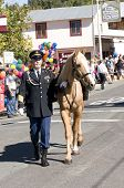 West Point, CA October 4, 2014: Lumberjack day, a typical slice of Americana, a parade down Main St, the main event for the day in this small American Sierra foothills community
