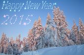 Happy New Year 2015 Beautiful Snowy Forest.