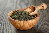 Oolong Green Tea In Wood Bowl