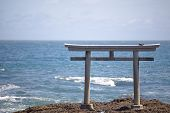 Japan landscape of traditional Japanese gate and se
