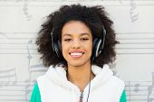 Afro-American with headphones