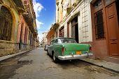 Old Car In Shabby Havana Street, Cuba