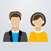 Call center male and female consultants