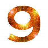 Number of orange firework, nine