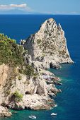 Gorgeous landscape of famous faraglioni rocks on Capri island, Italy