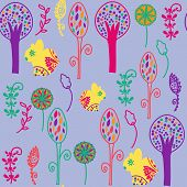 Floral Seamless Pattern With Bunnyes And Seamless Pattern In Swatch Menu, Vector Image