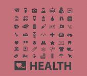 health, medicine, hospital black icons, signs, illustrations set, vector