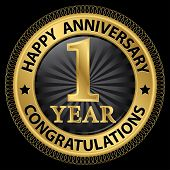 foto of congratulation  - 1 year happy anniversary congratulations gold label with ribbon vector illustration - JPG